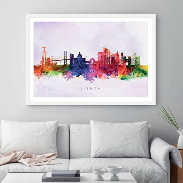 lisbon skyline purple wash watercolor print framed