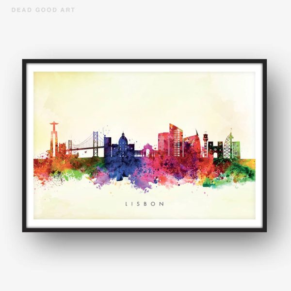 lisbon skyline yellow wash watercolor print