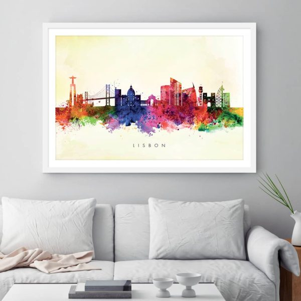 lisbon skyline yellow wash watercolor print framed