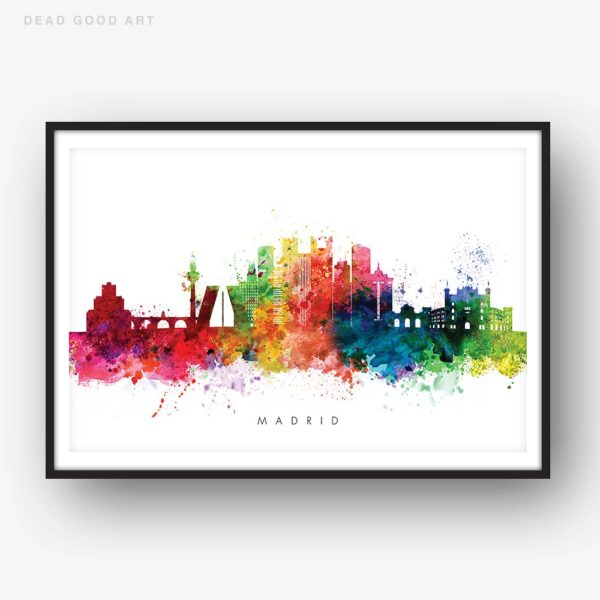 madrid skyline multi color watercolor print