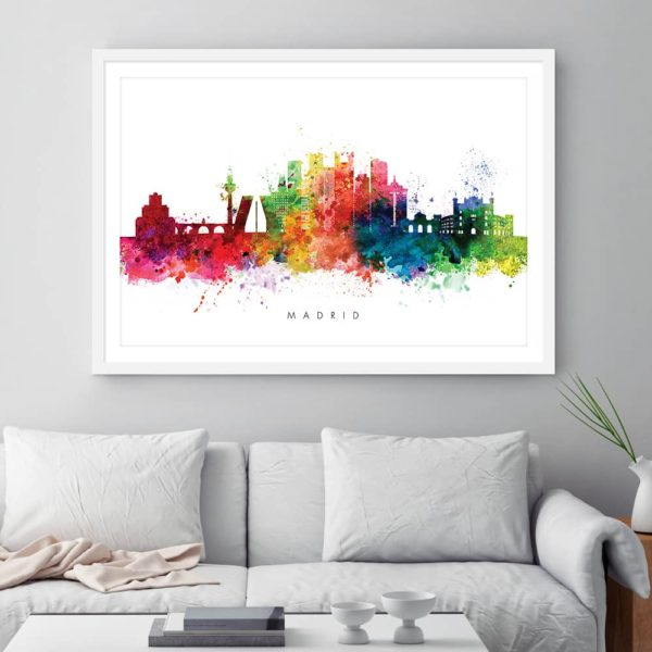 madrid skyline multi color watercolor print framed