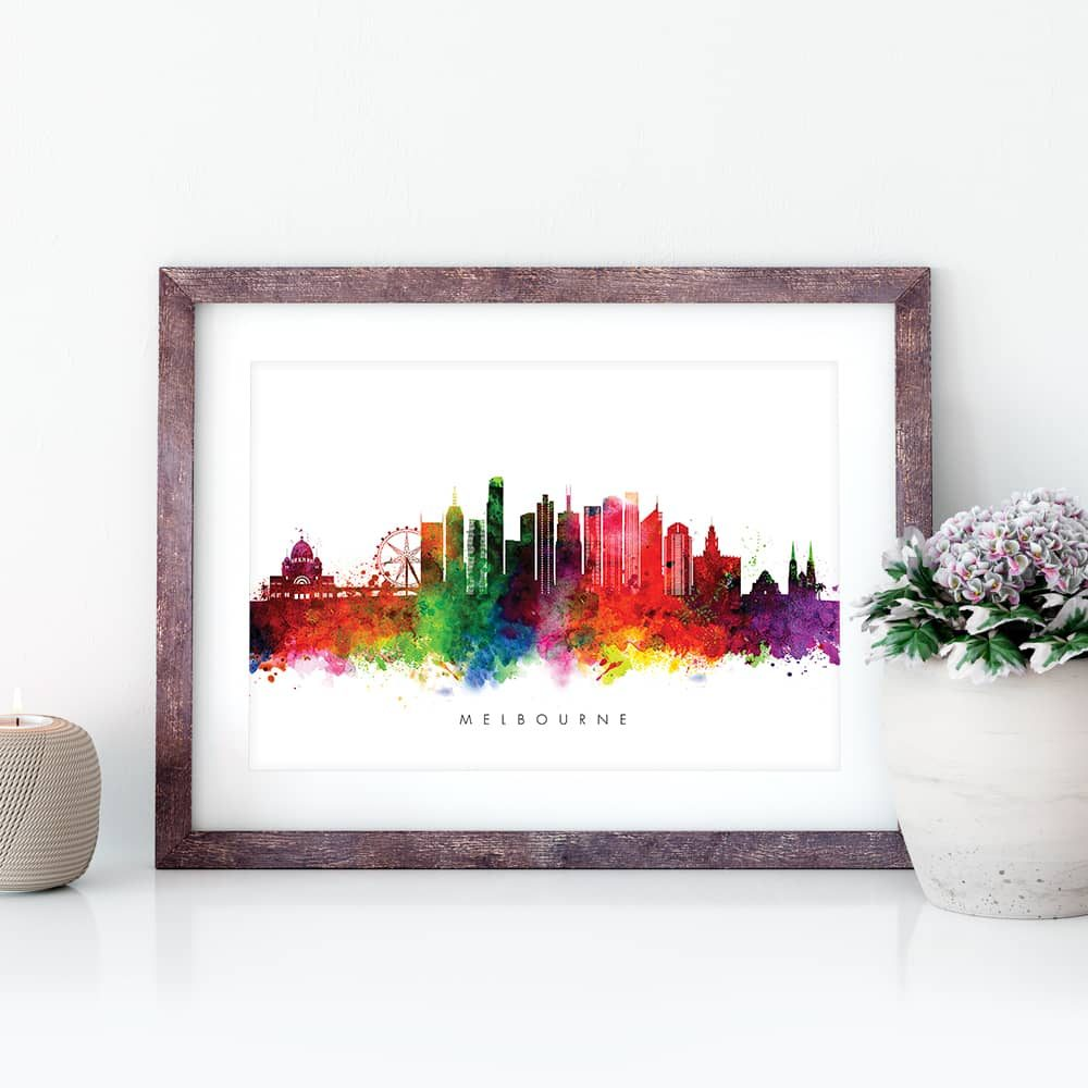 melbourne skyline multi color watercolor print closeup