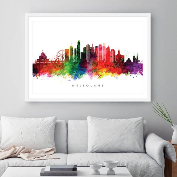 melbourne skyline multi color watercolor print framed