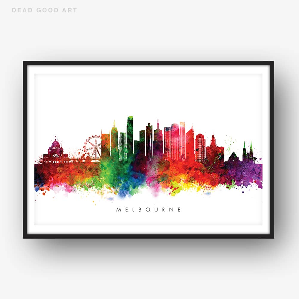 melbourne skyline multi color watercolor print