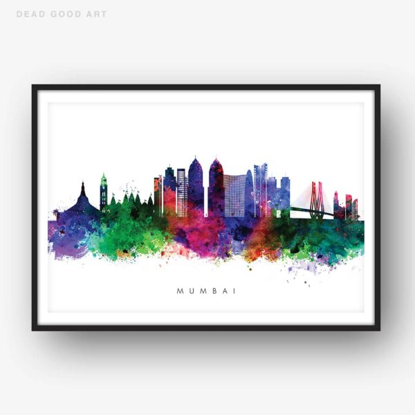 mumbai skyline multi color watercolor print