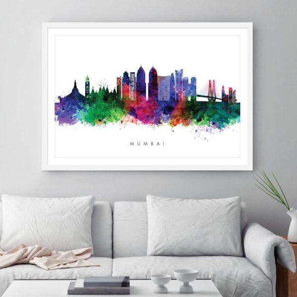 mumbai skyline multi color watercolor print framed