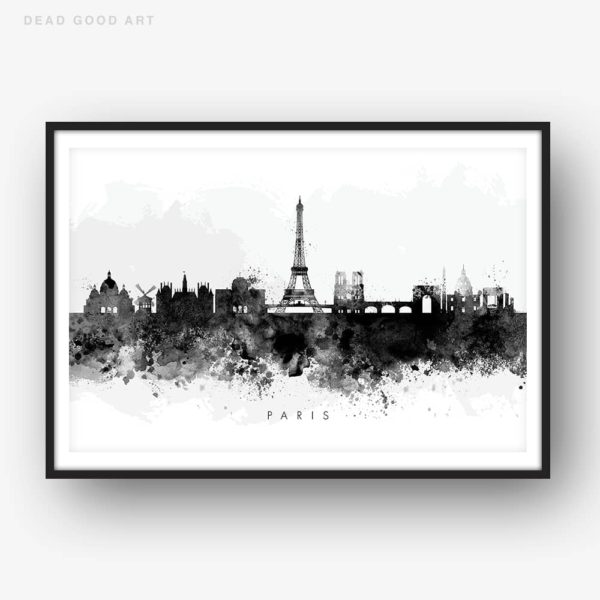paris skyline black white watercolor print