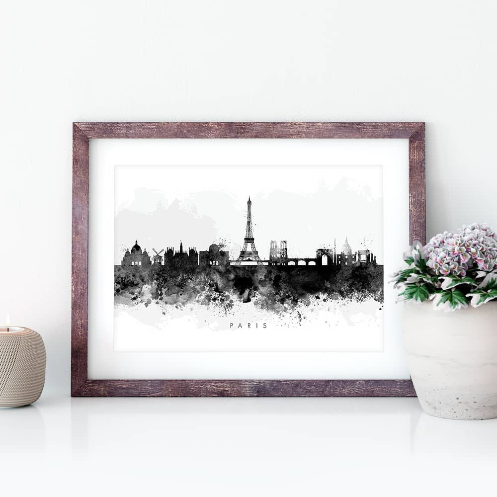 paris skyline black white watercolor print closeup