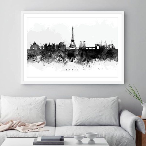 paris skyline black white watercolor print framed