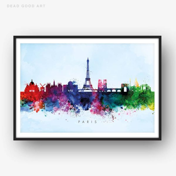 paris skyline blue wash watercolor print