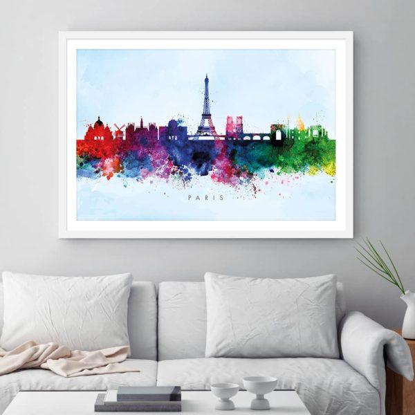 paris skyline blue wash watercolor print framed