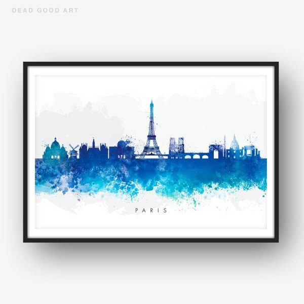 paris skyline blue watercolor print