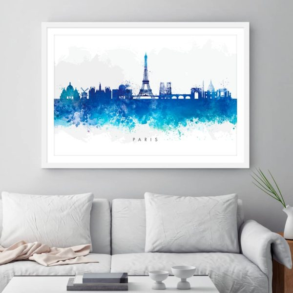 paris skyline blue watercolor print framed