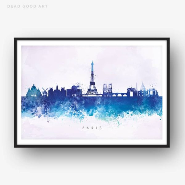 paris skyline blue2 watercolor print