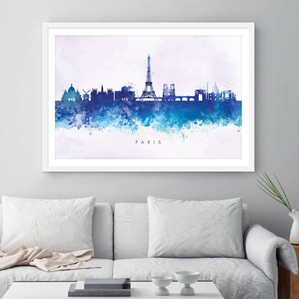 paris skyline blue2 watercolor print framed