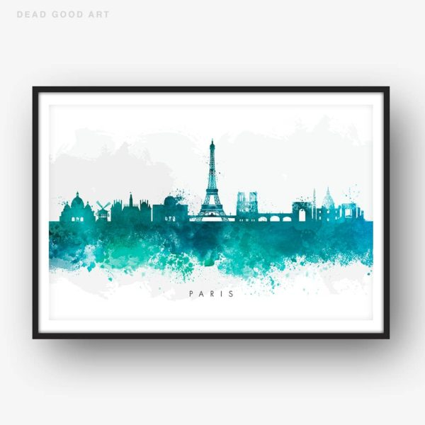 paris skyline green watercolor print
