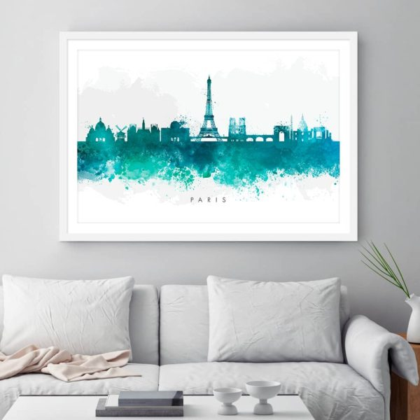 paris skyline green watercolor print framed