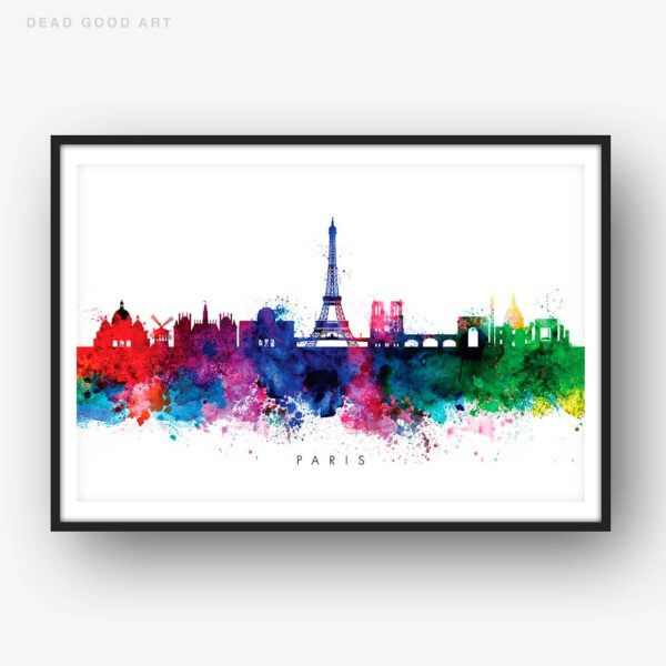 paris skyline multi color watercolor print