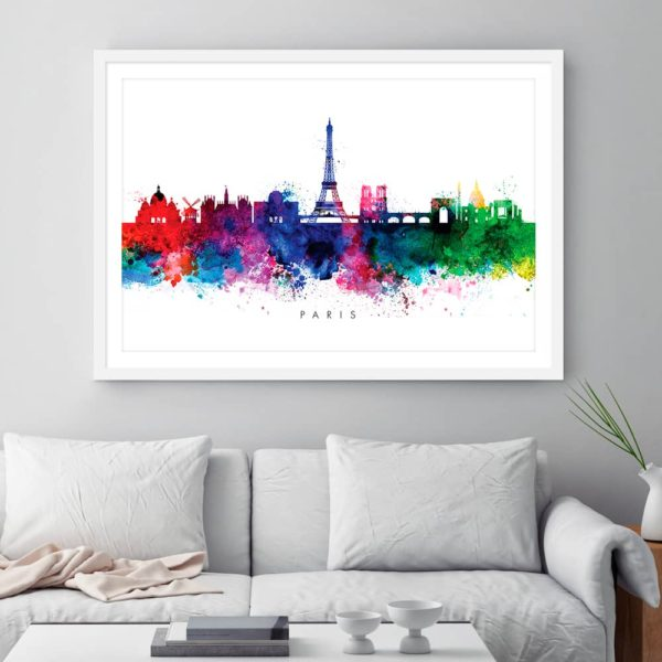 paris skyline multi color watercolor print framed