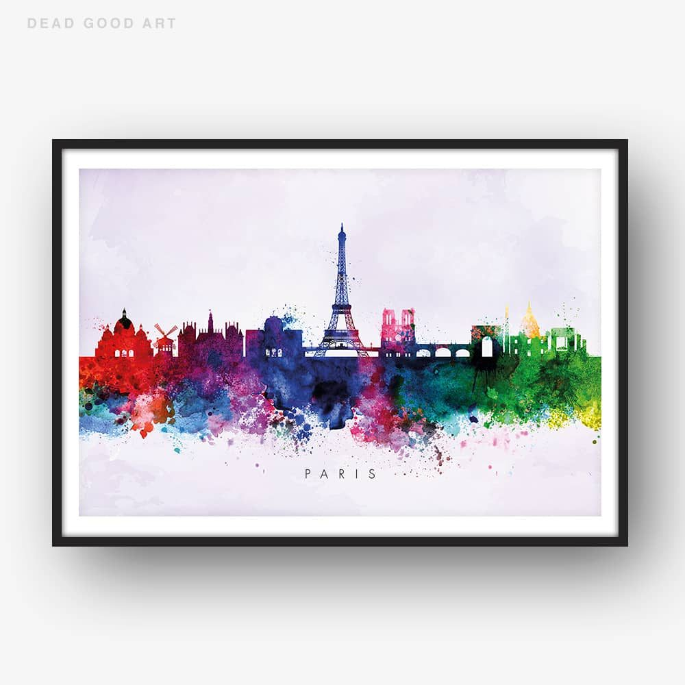 paris skyline purple wash watercolor print