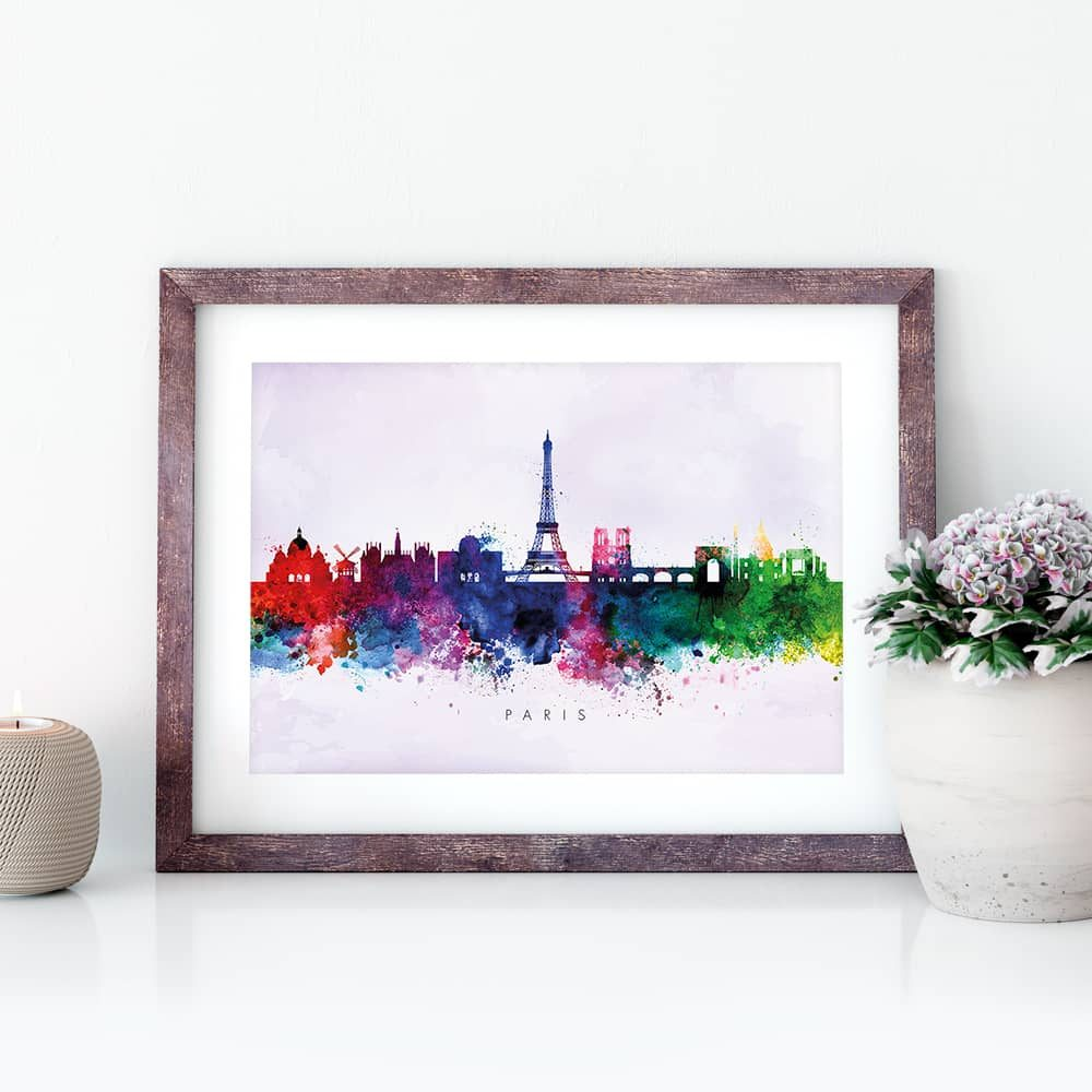 paris skyline purple wash watercolor print closeup