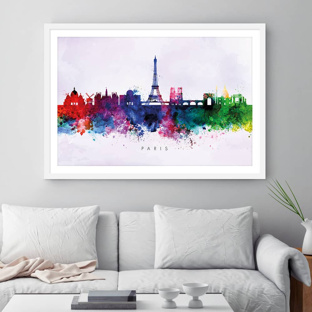 paris skyline purple wash watercolor print framed