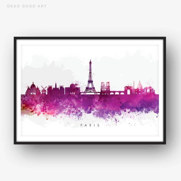 paris skyline purple watercolor print