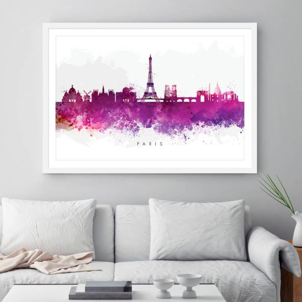 paris skyline purple watercolor print framed