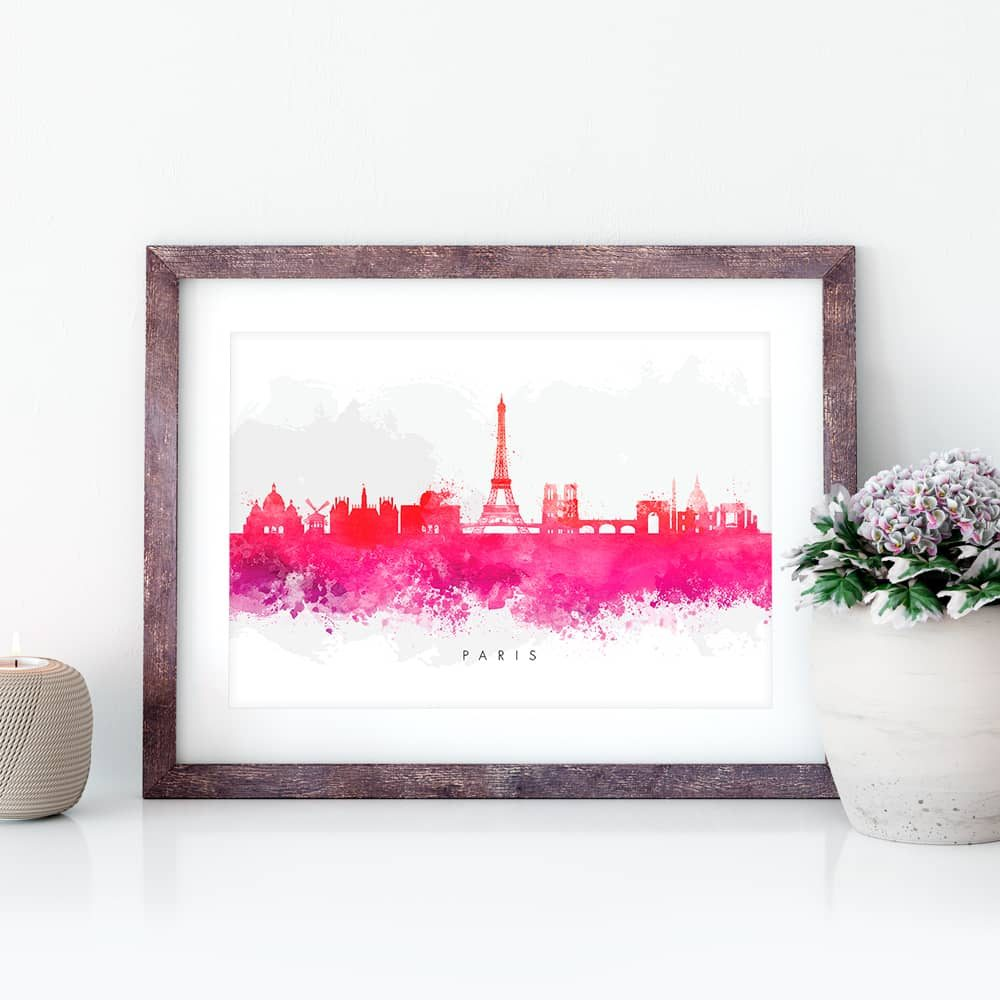paris skyline red watercolor print closeup