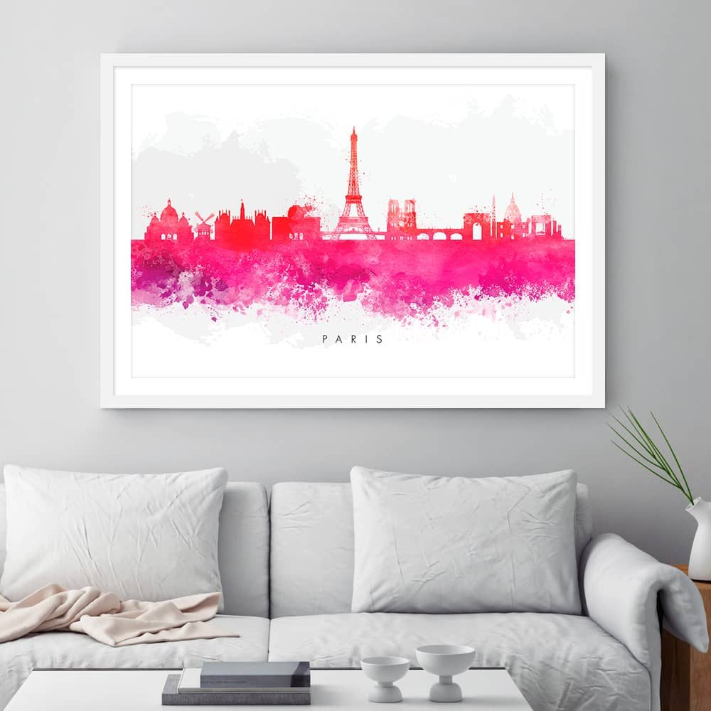 paris skyline red watercolor print framed