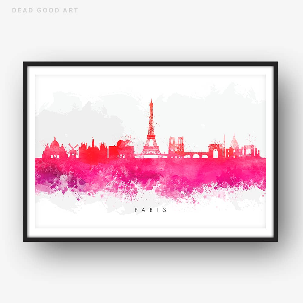 paris skyline red watercolor print