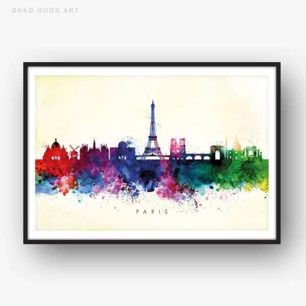 paris skyline yellow wash watercolor print