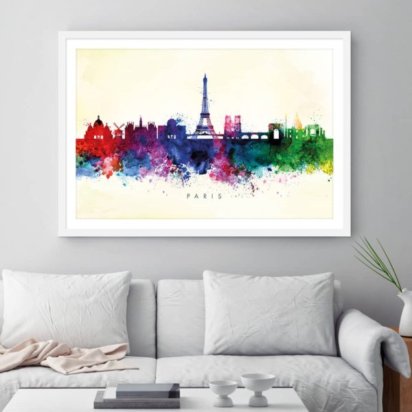 paris skyline yellow wash watercolor print framed