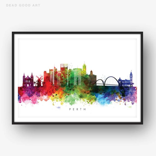 perth skyline multi color watercolor print