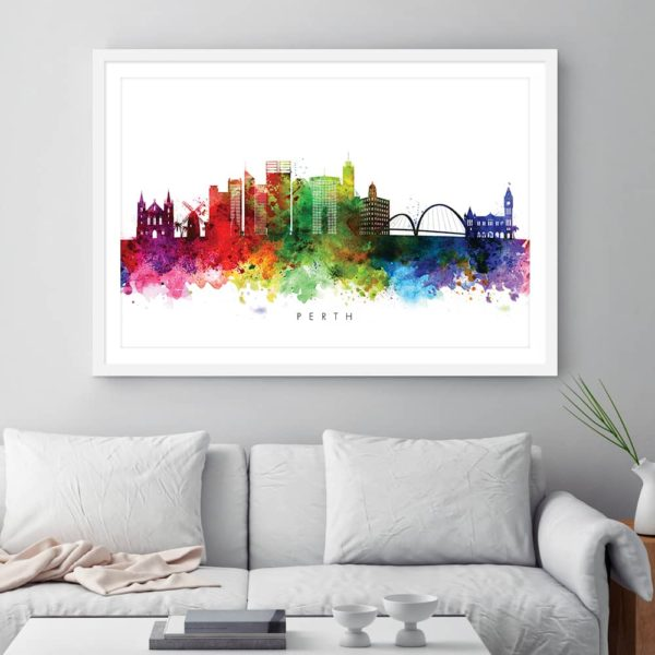 perth skyline multi color watercolor print framed
