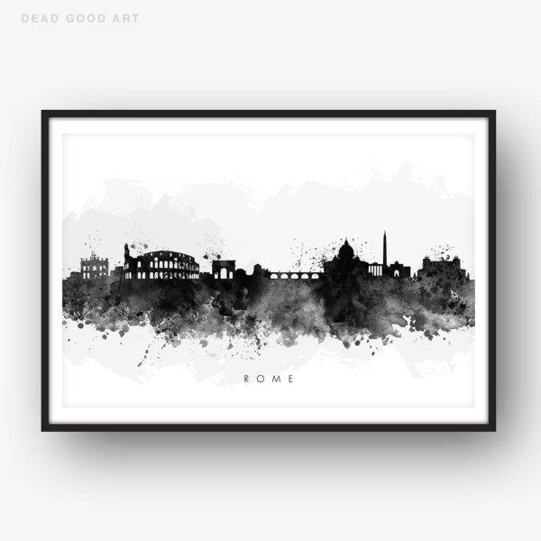 rome skyline black white watercolor print
