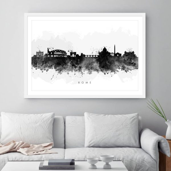 rome skyline black white watercolor print framed