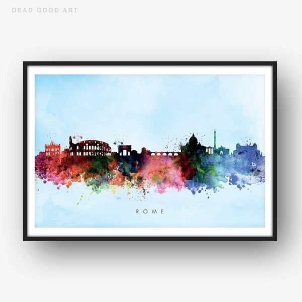 rome skyline blue wash watercolor print