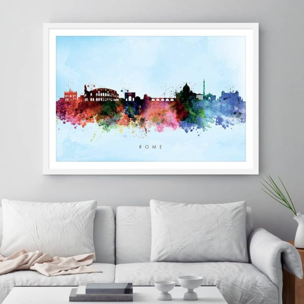 rome skyline blue wash watercolor print framed