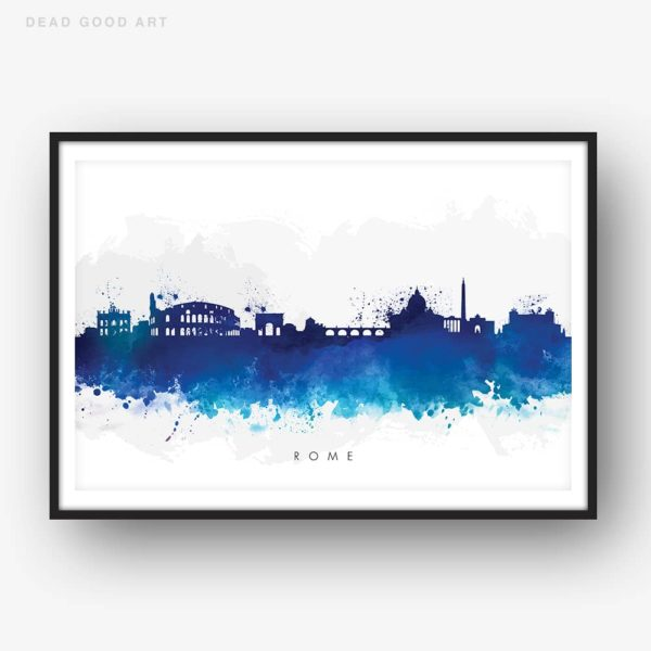 rome skyline blue watercolor print