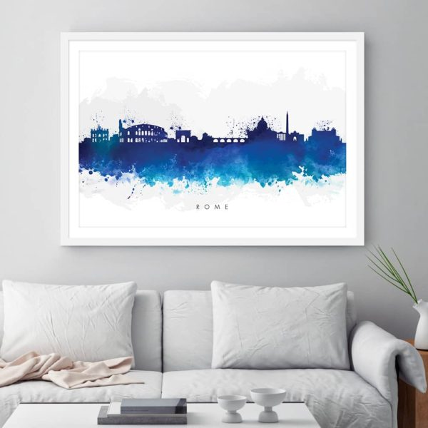 rome skyline blue watercolor print framed