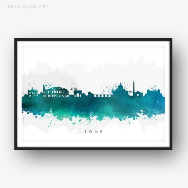 rome skyline green watercolor print