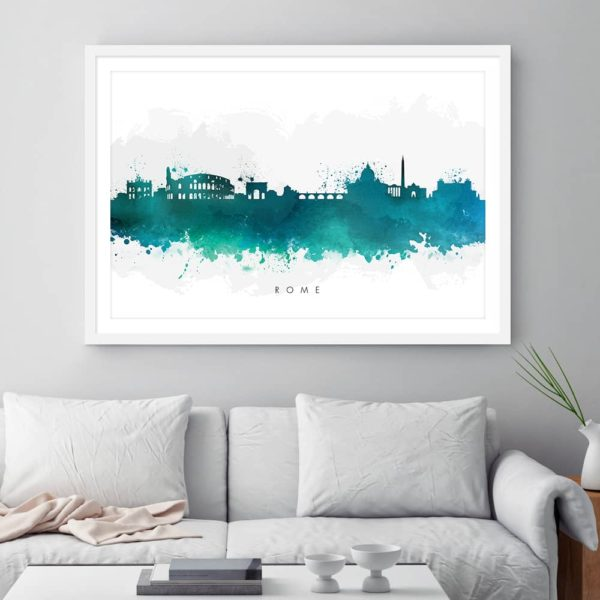 rome skyline green watercolor print framed