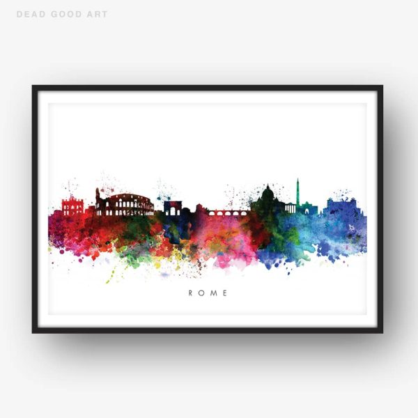 rome skyline multi color watercolor print