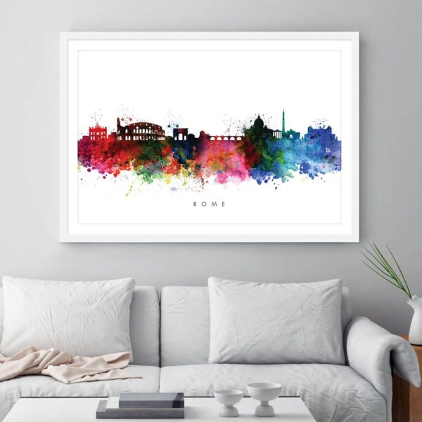 rome skyline multi color watercolor print framed