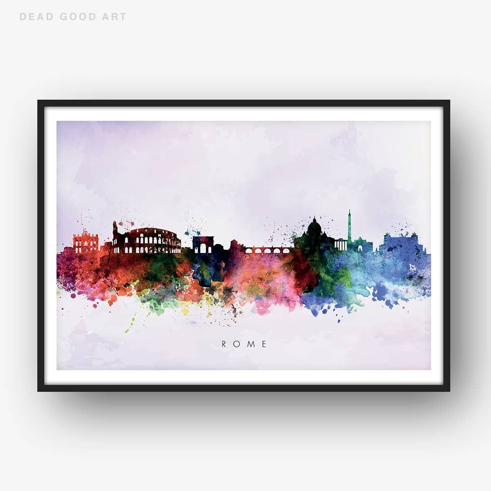 rome skyline purple wash watercolor print