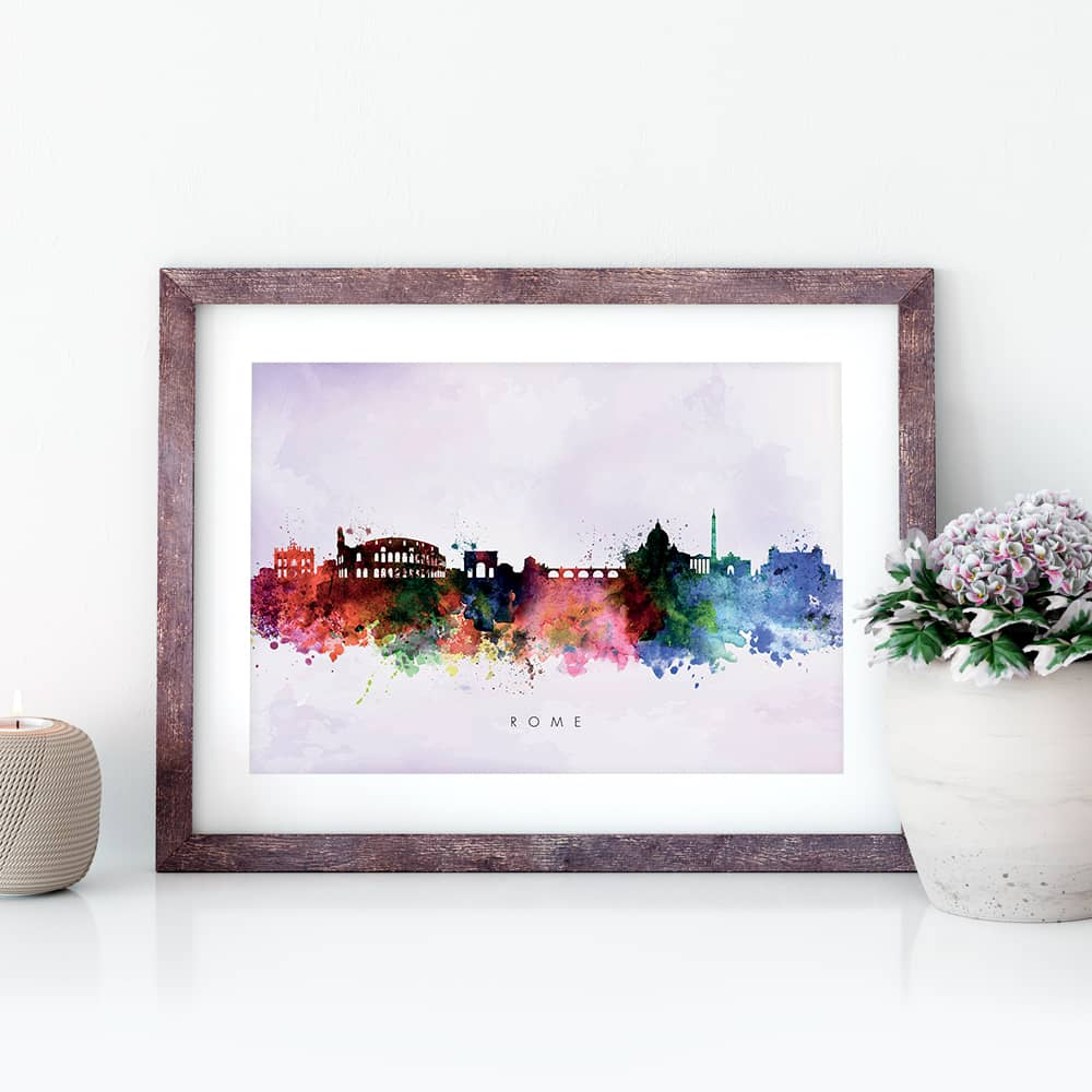 rome skyline purple wash watercolor print closeup