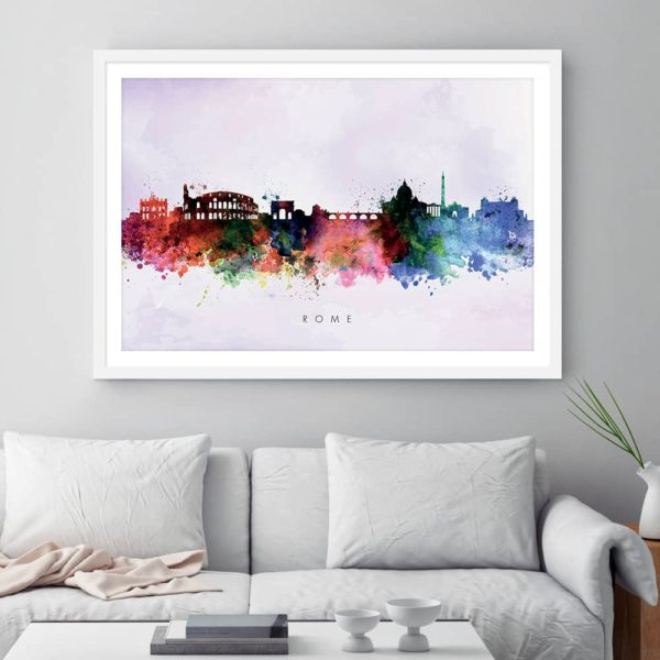 rome skyline purple wash watercolor print framed