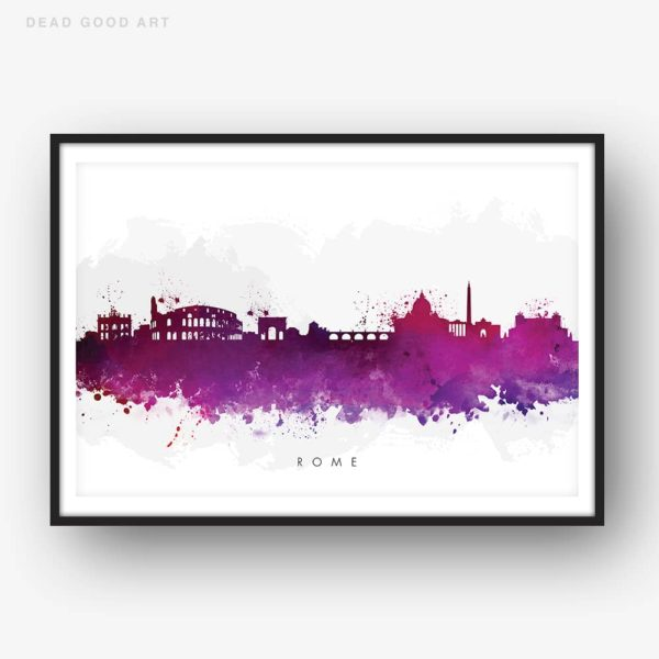 rome skyline purple watercolor print