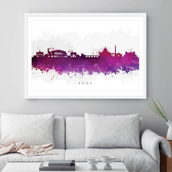 rome skyline purple watercolor print framed
